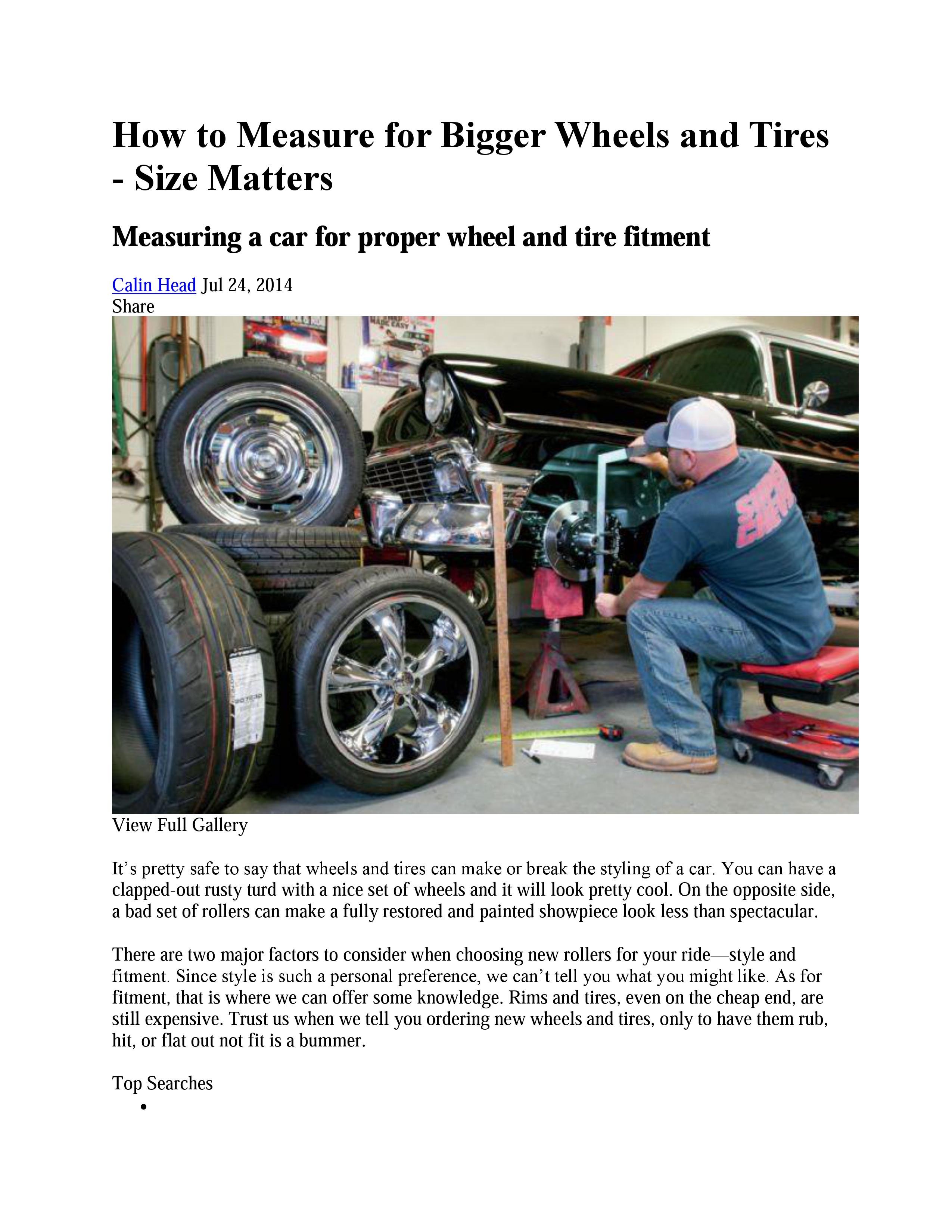 How To Measure For Bigger Wheels And Tires Size Matters Part 1
