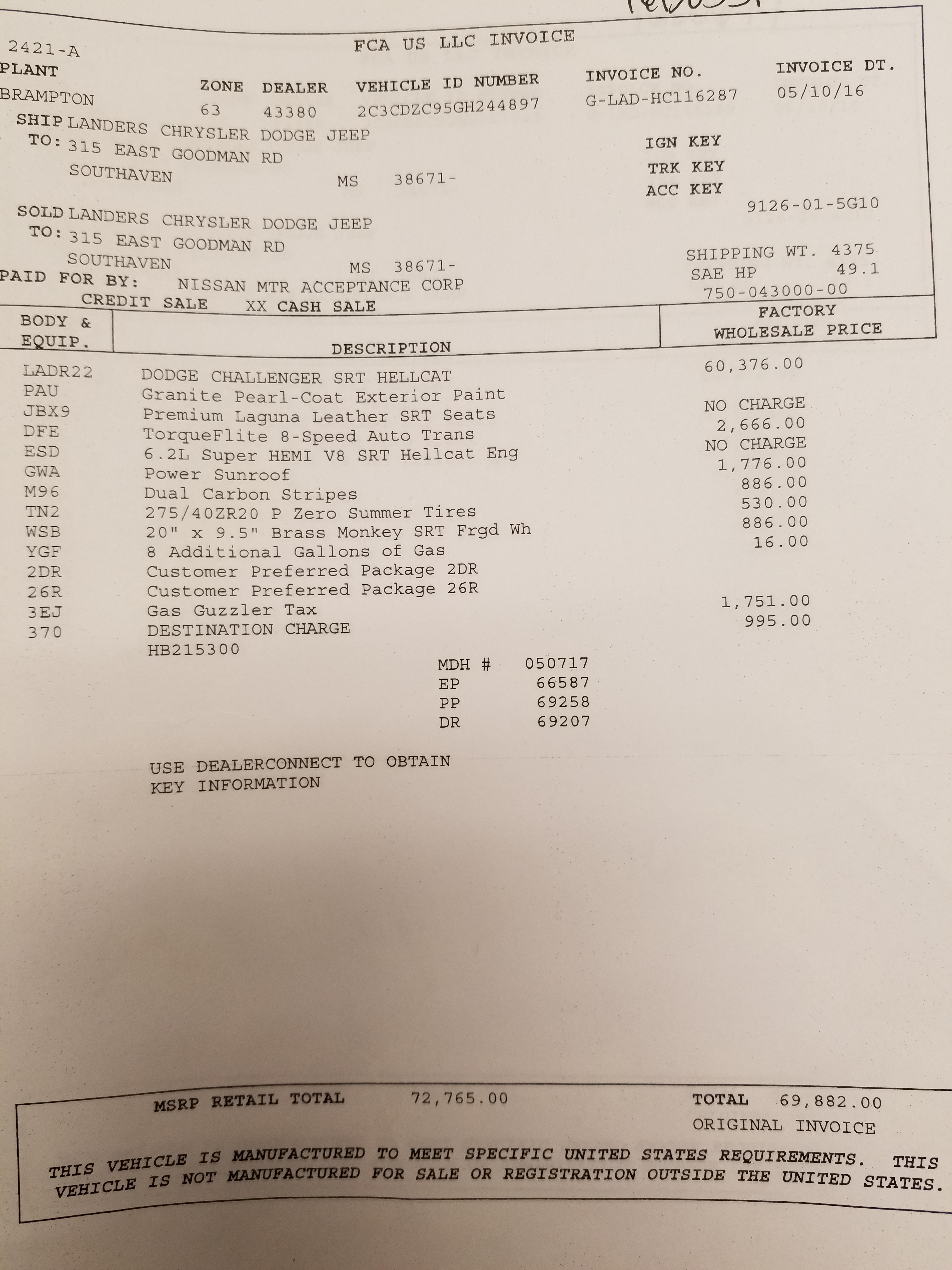 Brand New Hellcats Invoice Pricing SRT Hellcat Forum - Dodge challenger invoice price