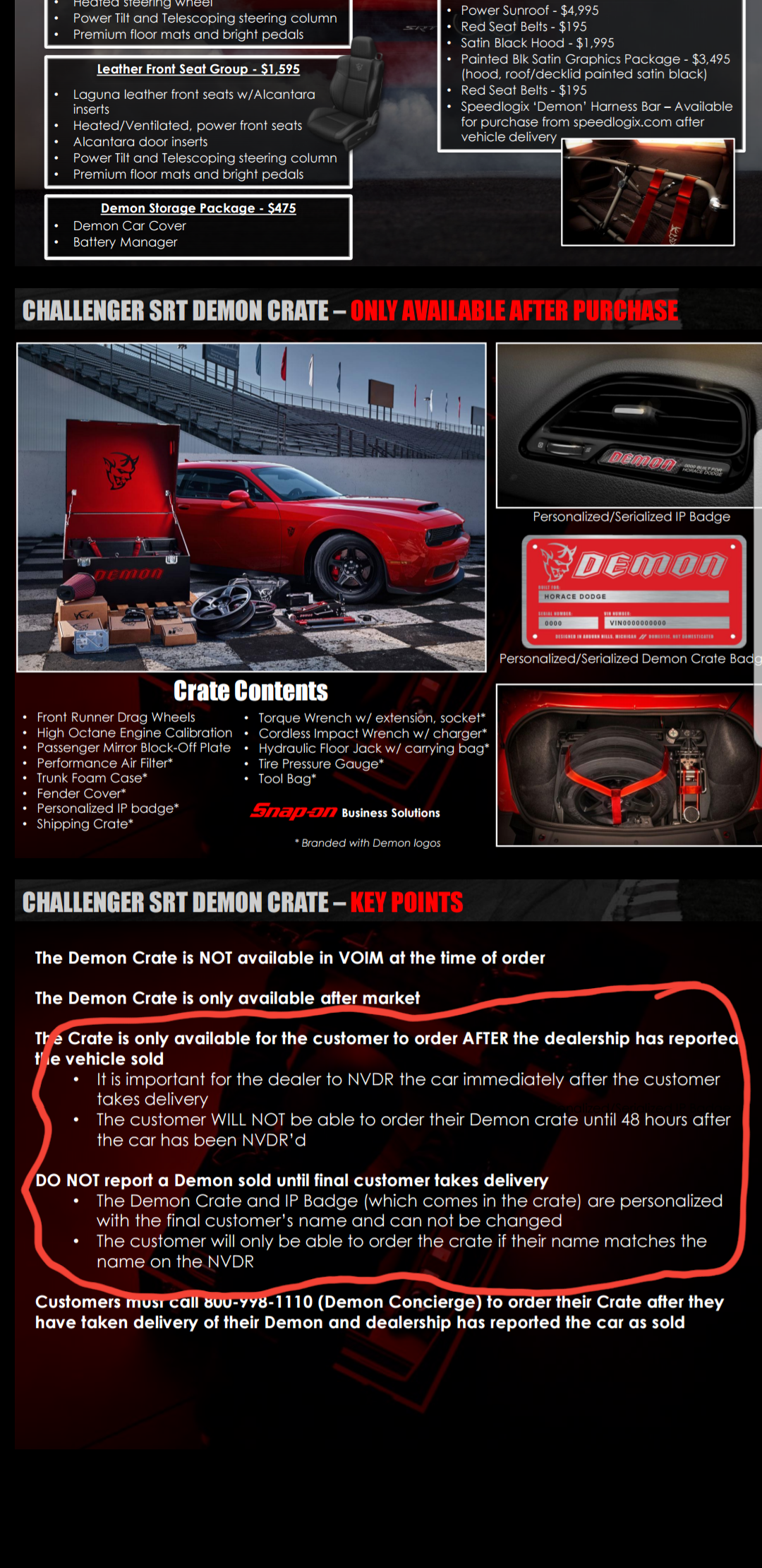 "Dodge Charger Srt Hellcat >> Demon ""crate"" can't be ordered till after you get the car ..."