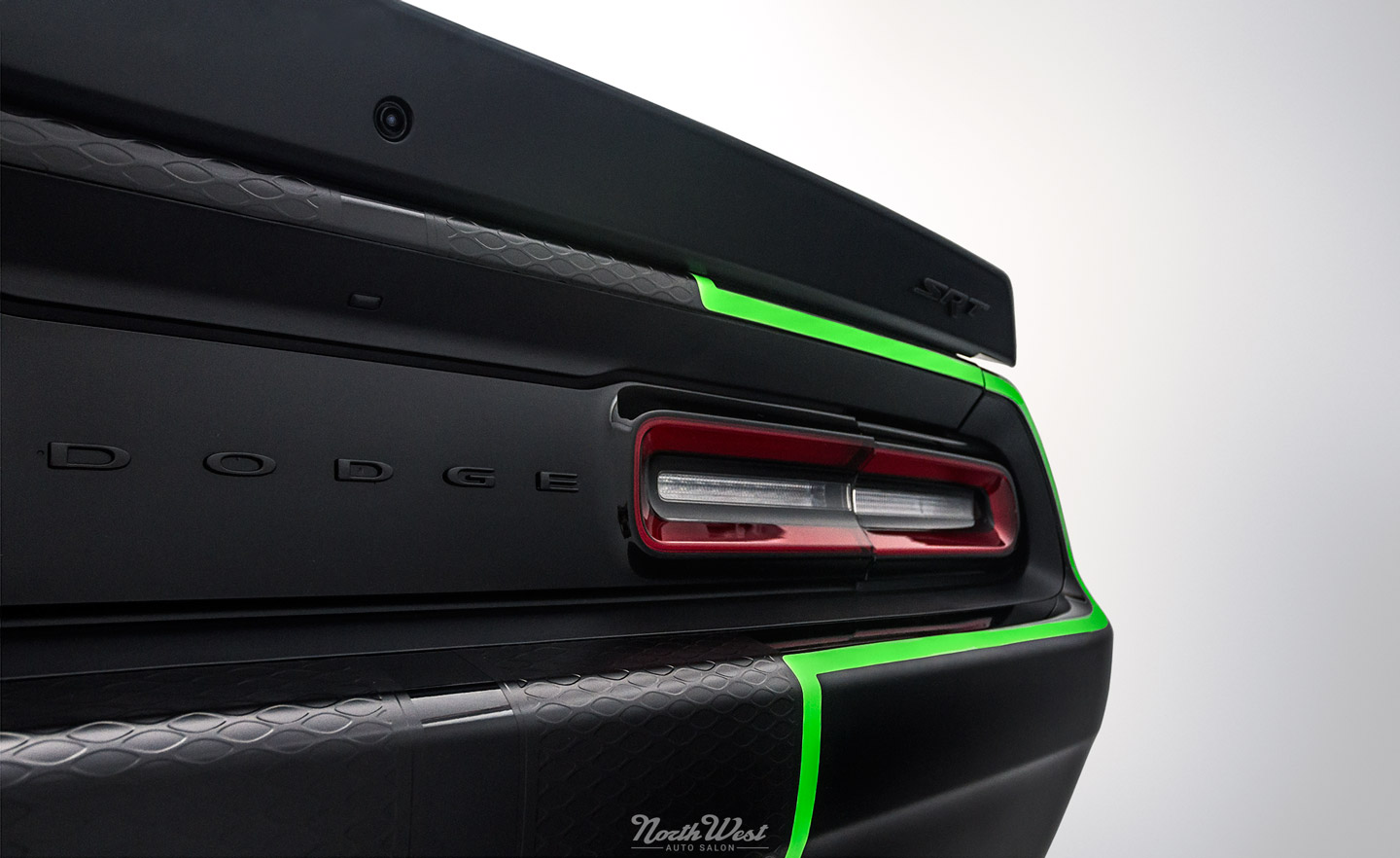 Dodge-Challenger-SRT-Hellcat-new-car-detail-ceramic-pro-custom-neon-green-stripes-rear-qtr-close.jpg