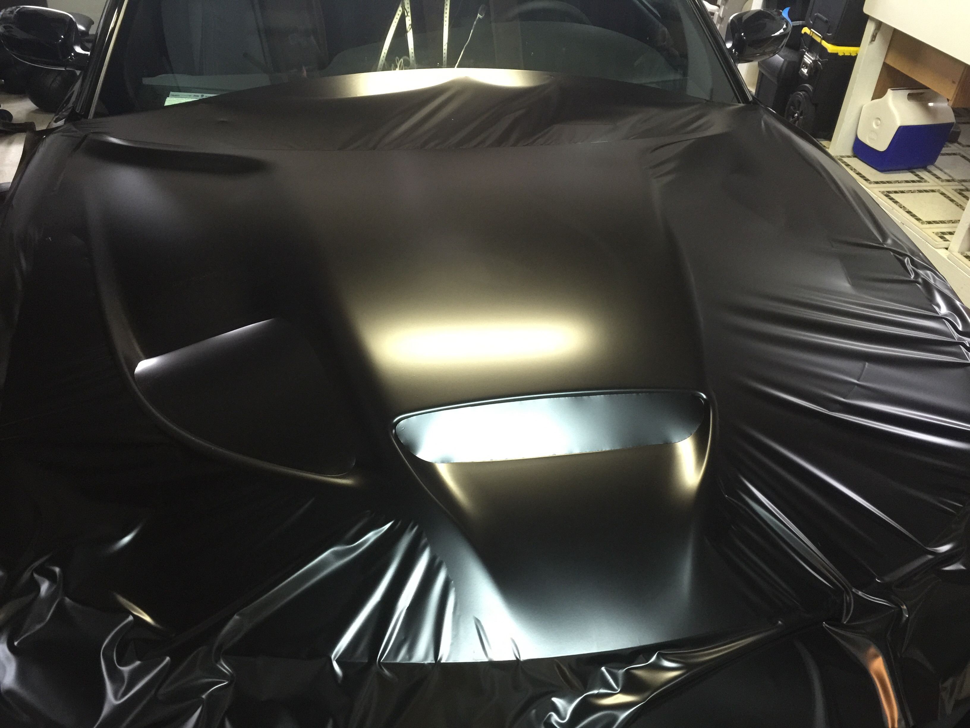 Charger Srt Hellcat >> Vinyl Hood Wrap PICS - Satin black + Charger Phantom black | SRT Hellcat Forum