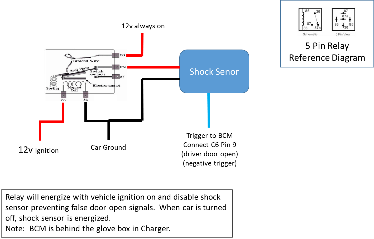 shock sensor wiring diagram wanting to add shock sensor to factory charger hc alarm ...