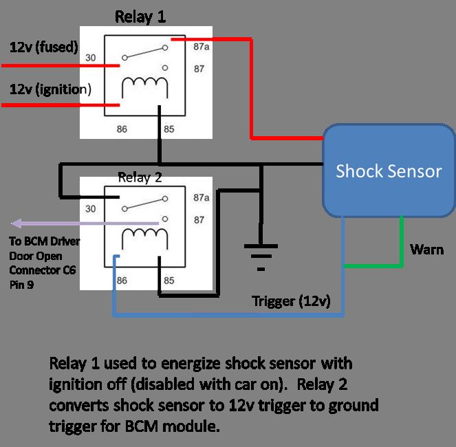 wanting to add shock sensor to factory charger hc alarm system rh hellcat org Nissan Speed Sensor Wire Diagram MAF Sensor Wiring Diagram