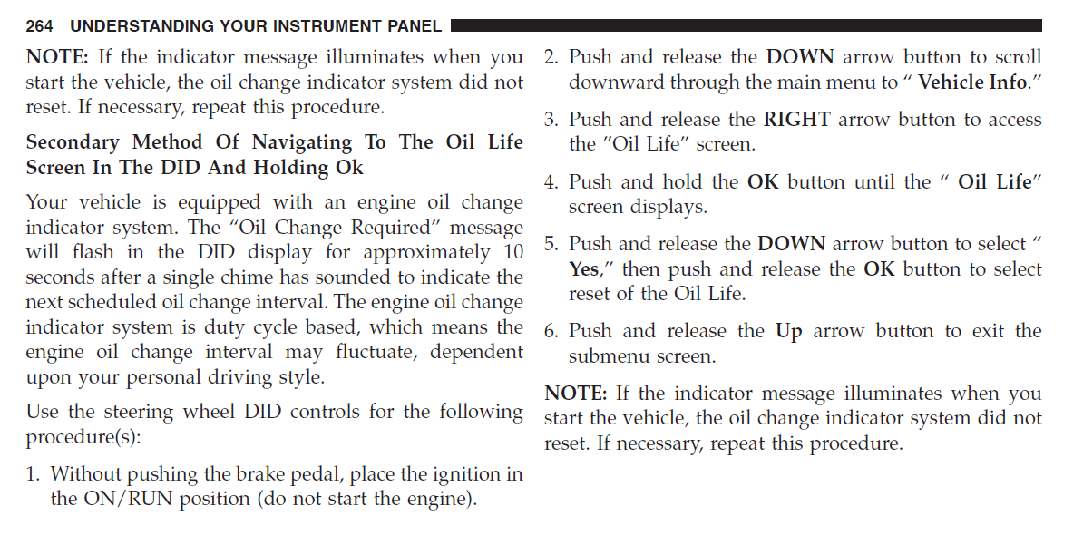 How to reset oil life in cluster* | SRT Hellcat Forum