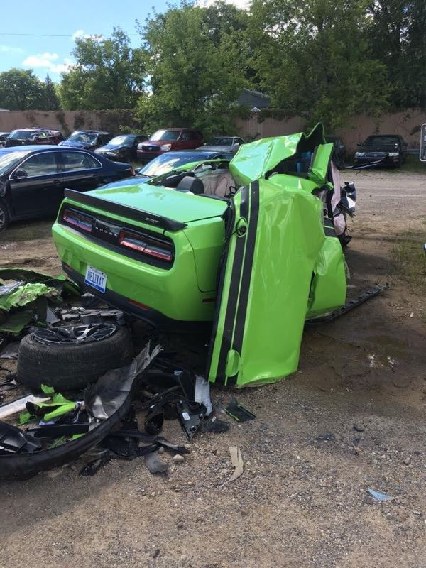 Wrecked Rt Charger: Mangled Green Challenger, Michigan